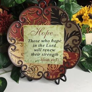 "Decorative Christian Plate ""Hope...Isiah 40:31"""